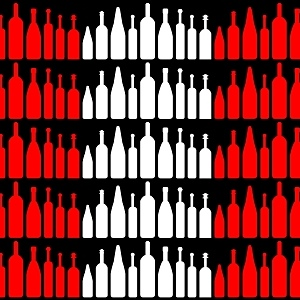 Wine bottles white red