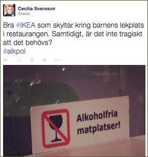 Skylt för alkoholfria matplatser på IKEA